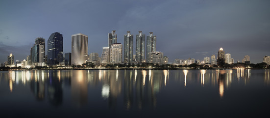 business buildings area and office, cityscape at twilight panora