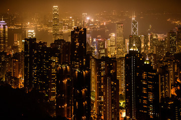 Türaufkleber Hongkong View of Victoria harbor from the peak at Hong Kong