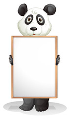 A panda holding an empty board
