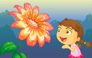A girl playing in front of the giant flower