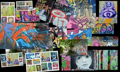 Printed kitchen splashbacks Graffiti collage collage...art urbain