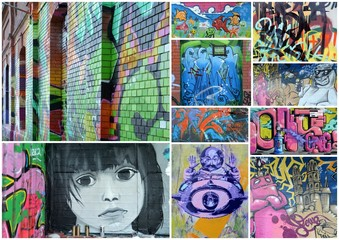 Photo sur Plexiglas Graffiti collage collage...urban comtest