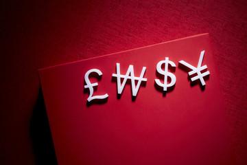 Dollar,pound,yen,won,symbols