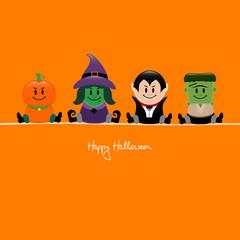 Halloween Pumpkin, Witch, Vampire & Frankenstein Orange
