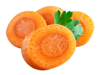 carrot slices. Clipping path