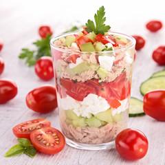 tomato,cucumber and mozzarella salad