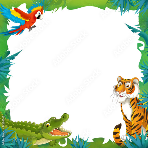 cartoon safari jungle frame border template stock photo and royalty free images on fotolia. Black Bedroom Furniture Sets. Home Design Ideas