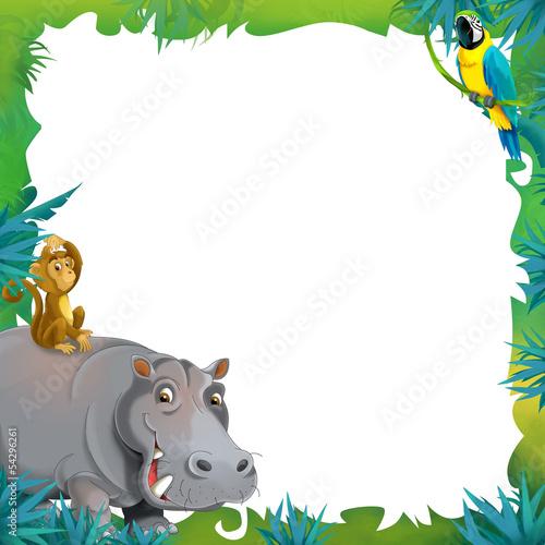 Cartoon safari - jungle - frame border template\