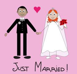 illustrazione di personaggi che si sposano