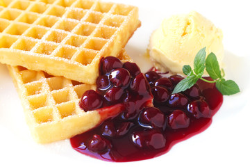 Waffles with Cherries and Icecream