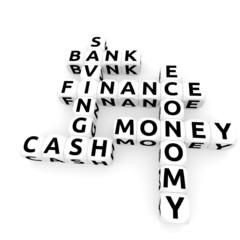 Dices - bank, money crossword, 3D rendered