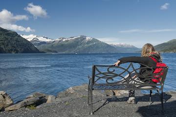Iron Bench on Prince William Sound, Alaska