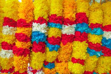 Red Rose Yellow Marigold Flower white jasmine Blue flower Garlan