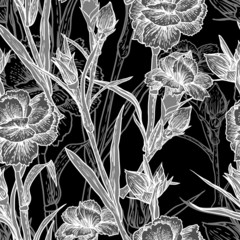 Fototapeten Blumen weiß - schwarz Seamless floral background with carnation