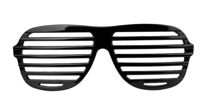 Black plastic shutter shades sunglasses