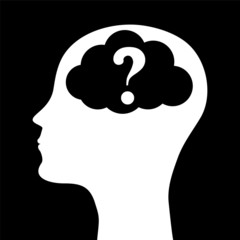 Human head silhouette with a question mark. vector