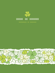 Vector clover line art vertical seamless pattern background with
