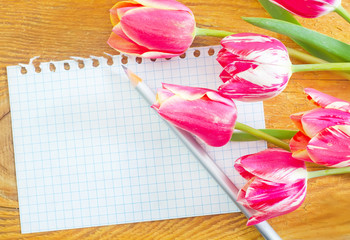 tulips and note