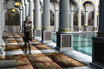 Roman soldier in bath house