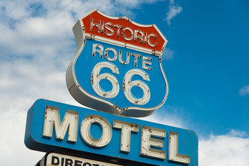 Photo on textile frame Route 66 Historic route 66 motel sign in California