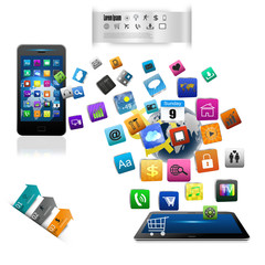 tablet computers and mobile phone isolated on white background