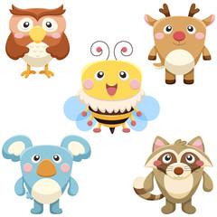 cute animals set