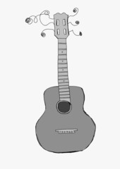 Hand drawn acoustic guitar