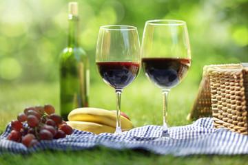 Autocollant pour porte Pique-nique Summer picnic setting