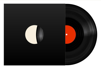 Vinyl record with black cover