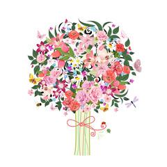 Festive romantic tree beautiful flowers