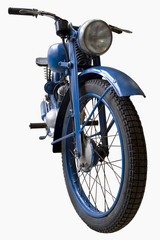 old blue motorcycle