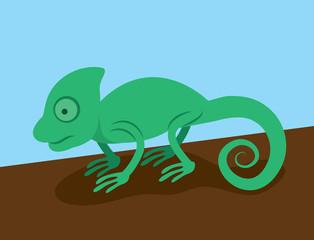 Green chameleon standing on a branch or log