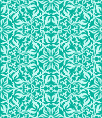Turquoise abstract hand-drawn seamless pattern.
