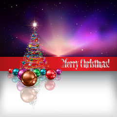 Abstract background with Christmas tree and decorations
