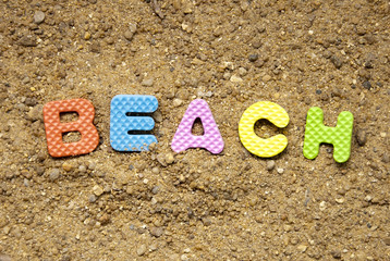 beach symbol and sand background