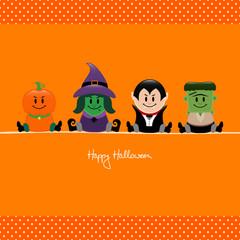 Halloween Pumpkin, Witch, Vampire & Frankenstein Orange Dots