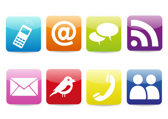 Colorful Contact icons set
