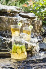 refreshing home made lemonade in cold waterfall