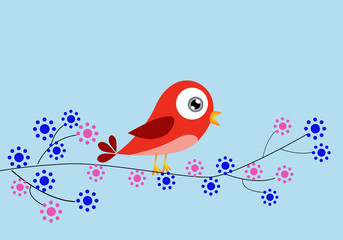 Red bird and flowers