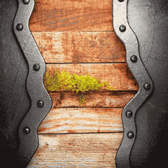 metal and wood background