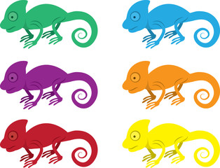 Isolated chameleons in various colors