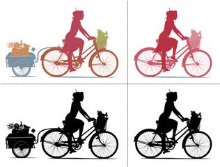 Silhouette de femme qui fait ses courses à vélo