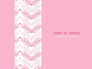 Vector Pink lineart leaves chevron horizontal seamless pattern