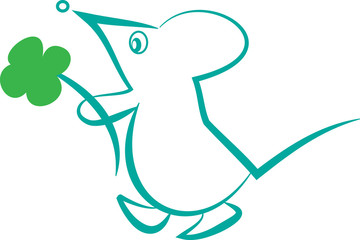 Мышь с цветком