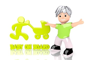 baby on board sign  with cute 3d character