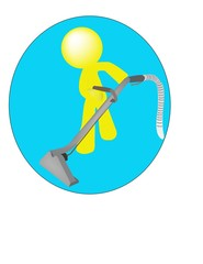 Carpet Care Cleaning Man Logo