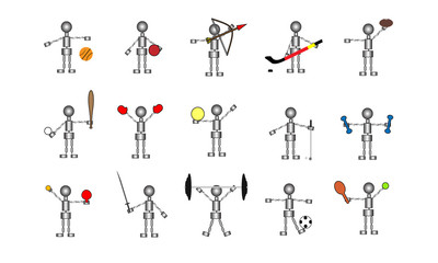 Athletic Robot Stick Figure Collection