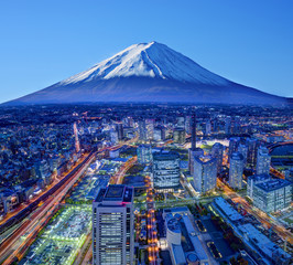 Mt. Fuji And Yokohama Skyline in Japan