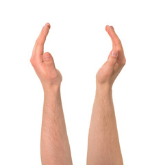 Holding between two hands gesture isolated