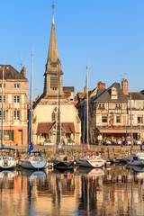 Honfleur harbour with boats and old houses, Normandy, France